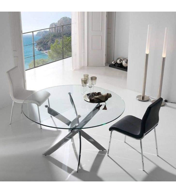 Mesa redonda fija de diseño moderno con patas cruzadas metalicas