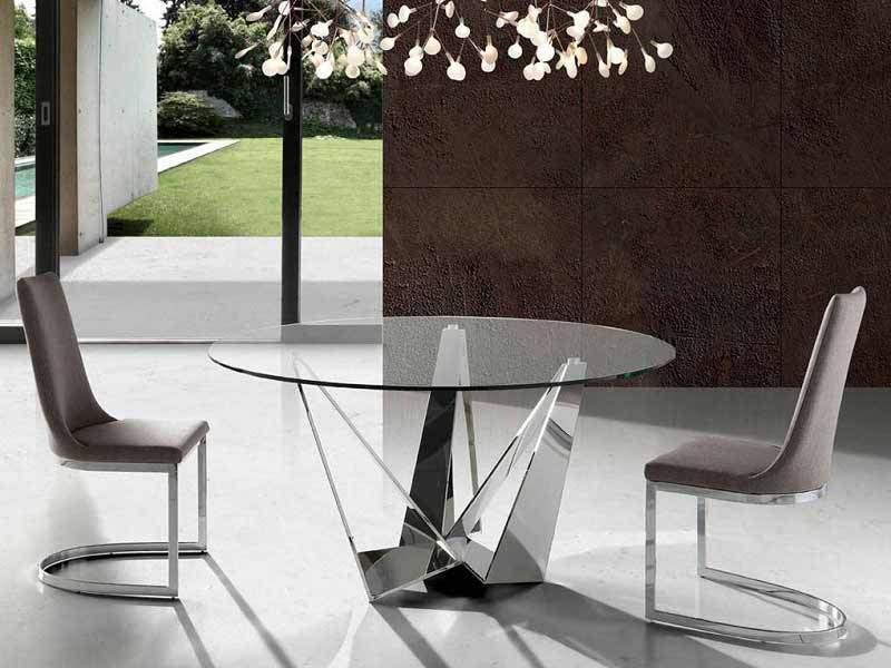 Mesas Redondas Con Diseño Moderno Y Encimera De Cristal Transparente