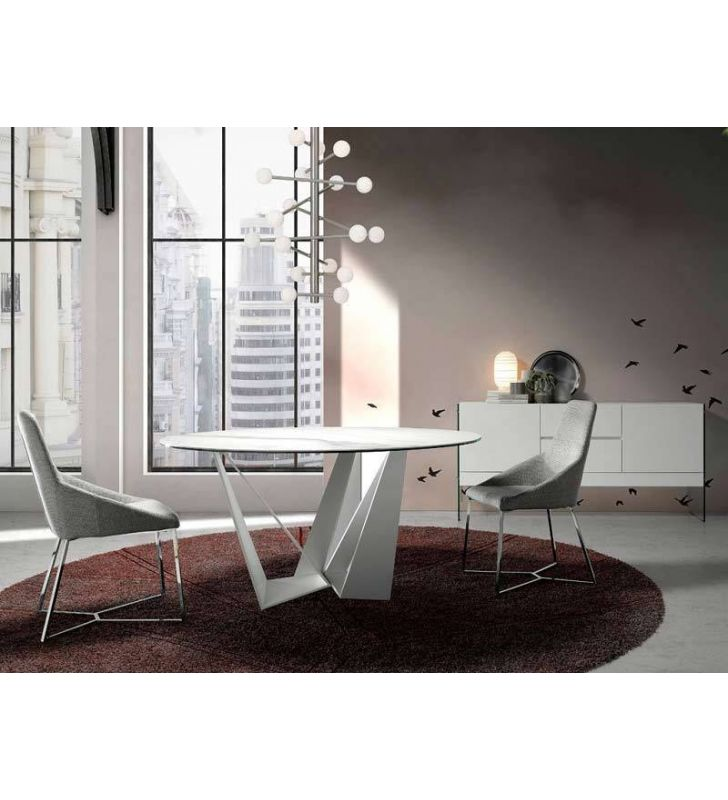 mesa redonda de diseño moderno Manhattan para comedor o salon