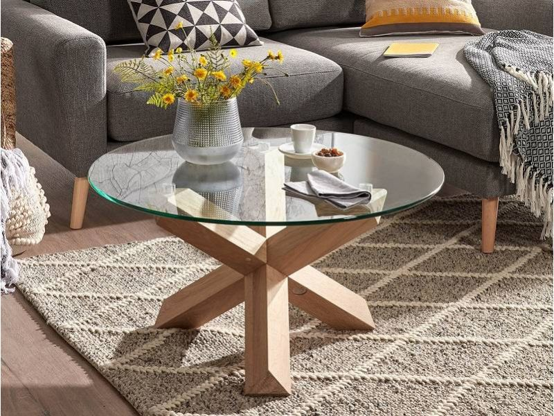 Table basse ronde avec comptoir en verre transparent Nori