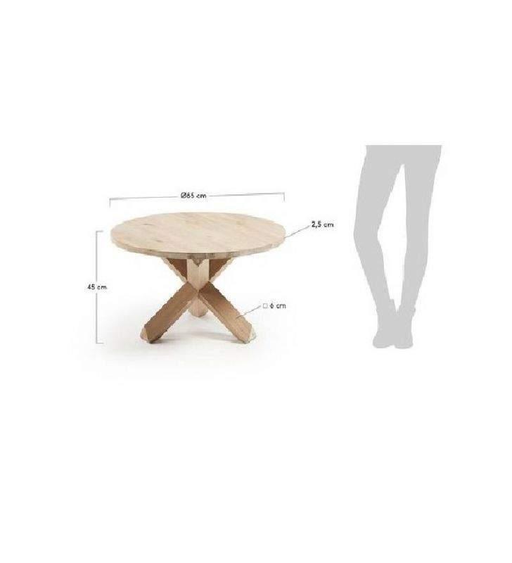 Table basse ronde Nori en bois et pieds croisés