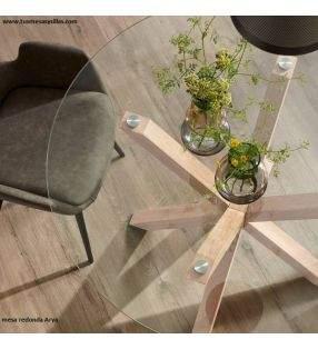 Mesa redonda cristal transparente Arya para cocina o comedor