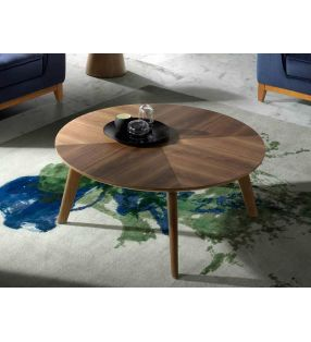 Table basse ronde en bois de noyer verni de 100 cm de diamètre