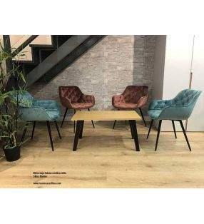 Table de salle à manger Adana de style nordique avec pieds en bois