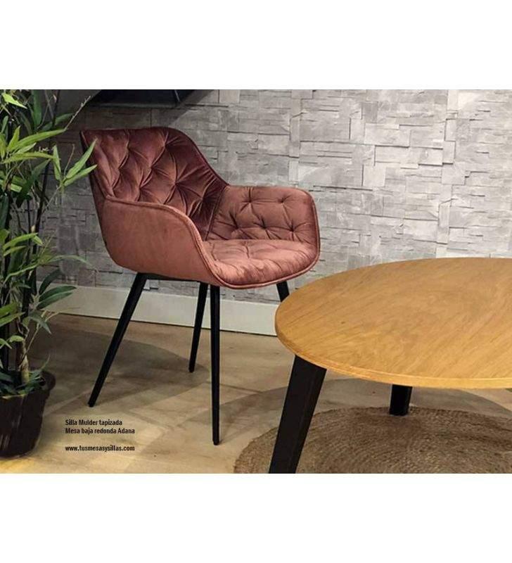 Table basse ronde avec pieds en bois de style nordique