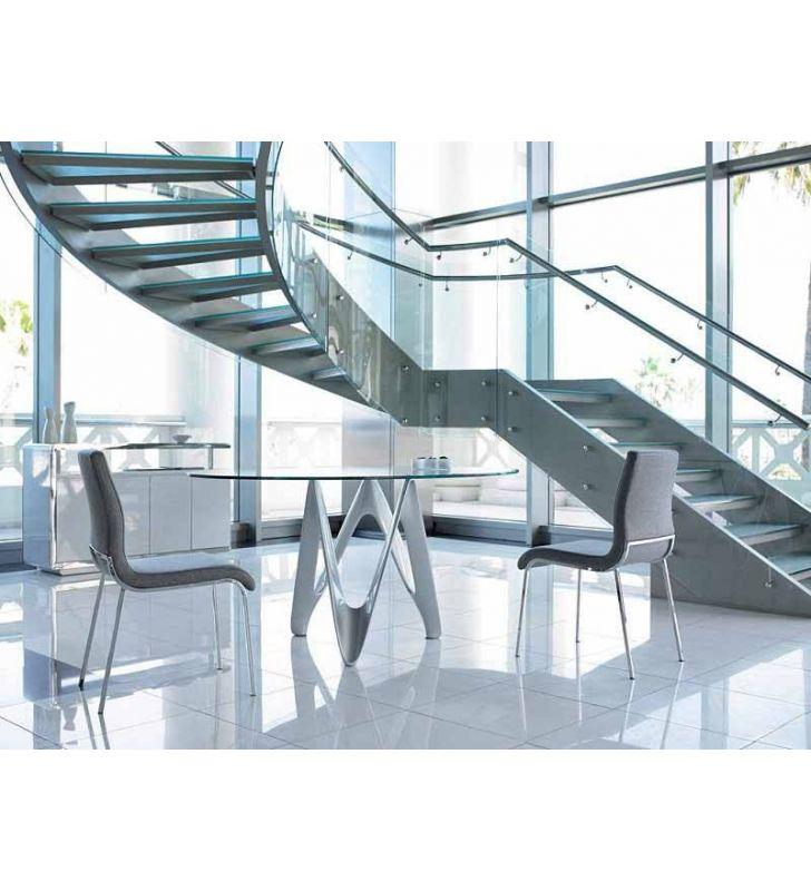 Table ronde avec comptoir en verre transparent et pied design moderne