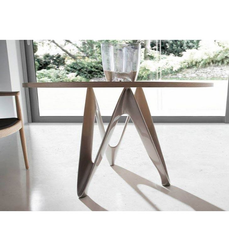 Table ronde au design moderne avec comptoir en chêne ou en noyer