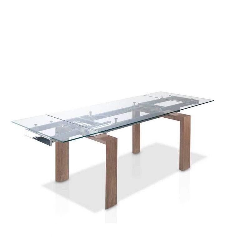 Mesa de comedor Sofi extensible con cristal transparente y madera Nogal