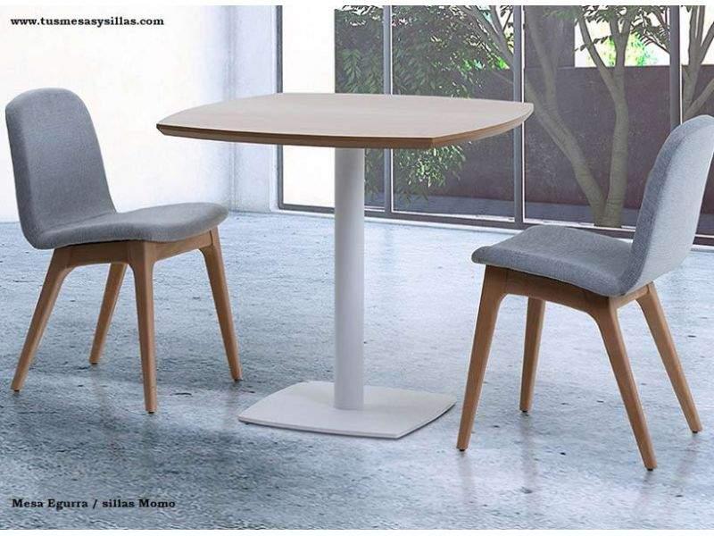 Egurra, mesa de pie central con encimera de madera maciza de roble o haya