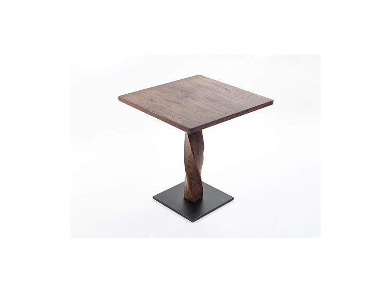 Mesa de pata central modelo Twist de estilo industrila envejecido