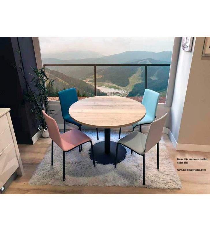 Table ronde contemporaine Tonda stratifié comptoir