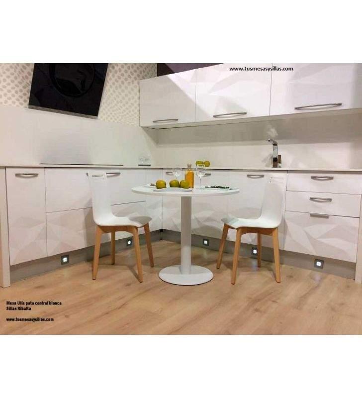 table ronde-stratifié-blanc