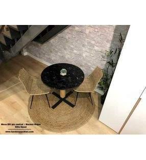 table-ronde-plan de travail-marbre-noir