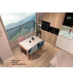 mesas madera porcelánica extensibles cocina