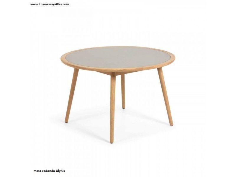 Mesa redonda para terraza Glynis en madera de 120 cm
