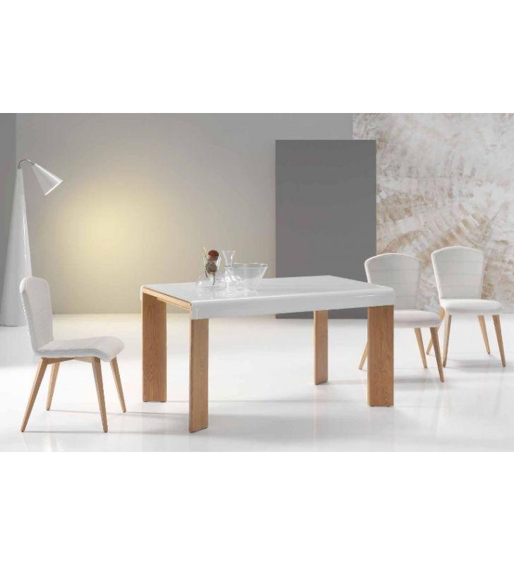 Mesa roble y cristal blanco