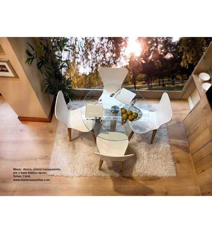 mesa redonda cómoda cristal blanco