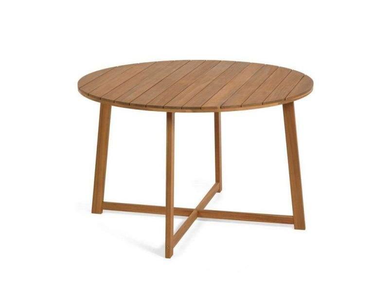 Mesa redonda de terraza en madera Dafne de 120 cm de diametro en stock
