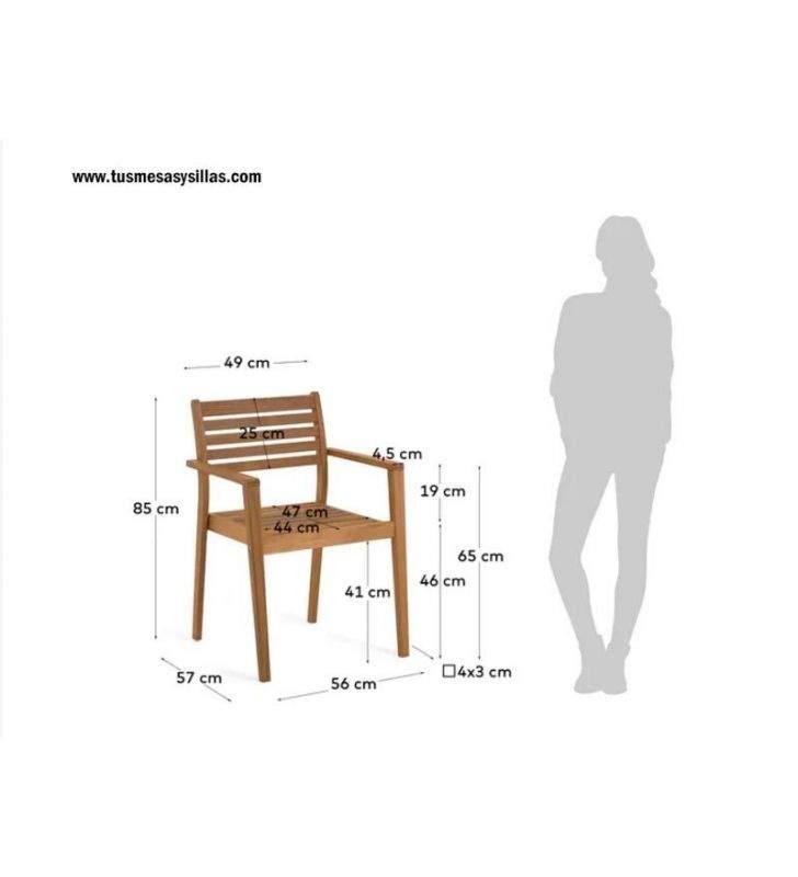 Medidas silla modelo Hanzel madera
