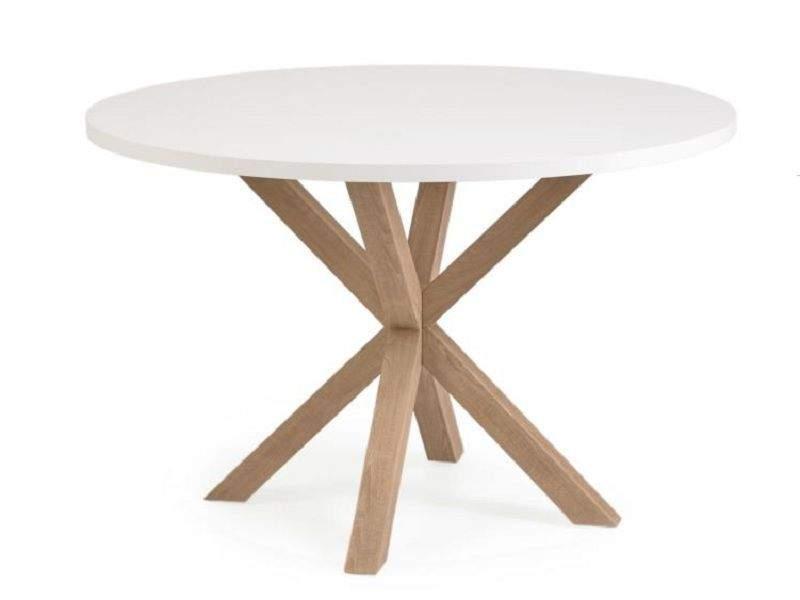 Mesa redonda de patas cruzadas Arya en blanco, madera o negra