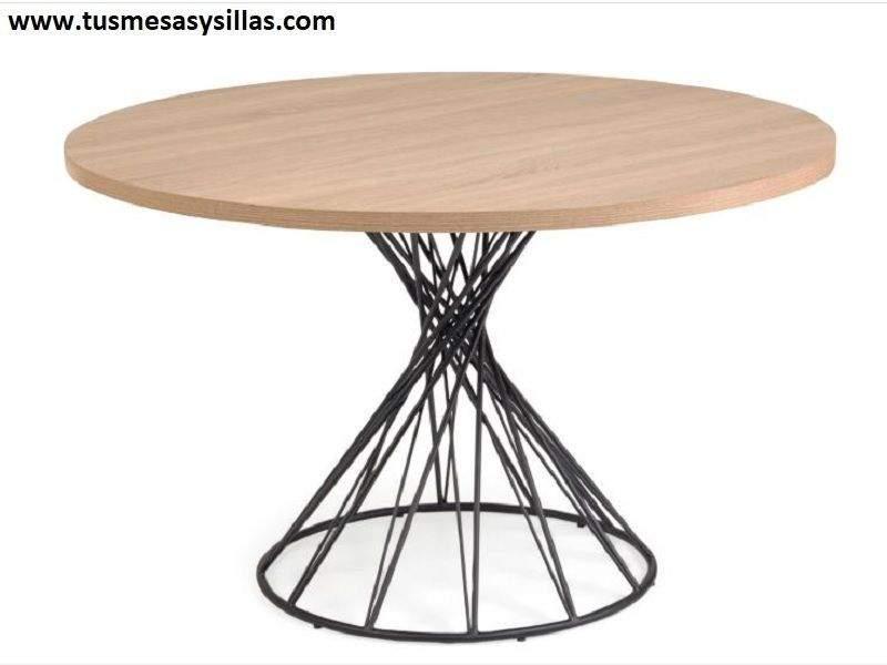 Mesa redonda con patas centrales cruzadas y 120 cm diseño vintage Niut