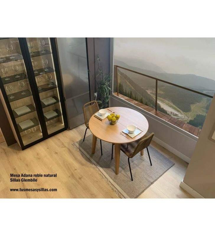 Mesas redondas extensibles en roble natural