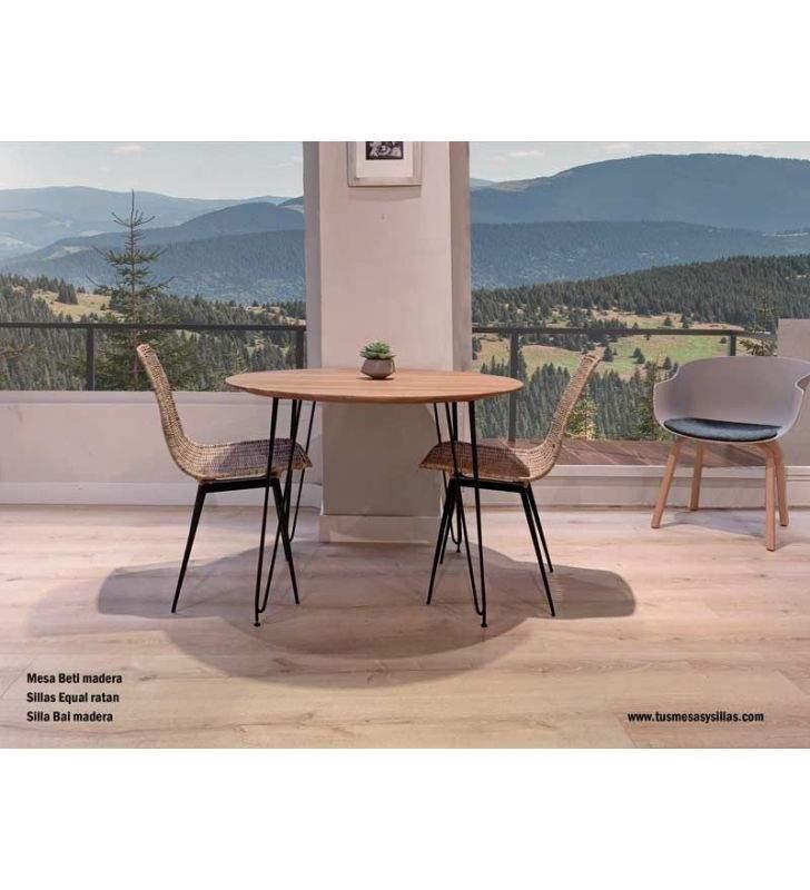 mesa-cocina-redonda-madera-y-hierro-negro