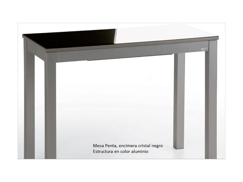 Mesa cocina extensible Penta encimera cristal fondo 45
