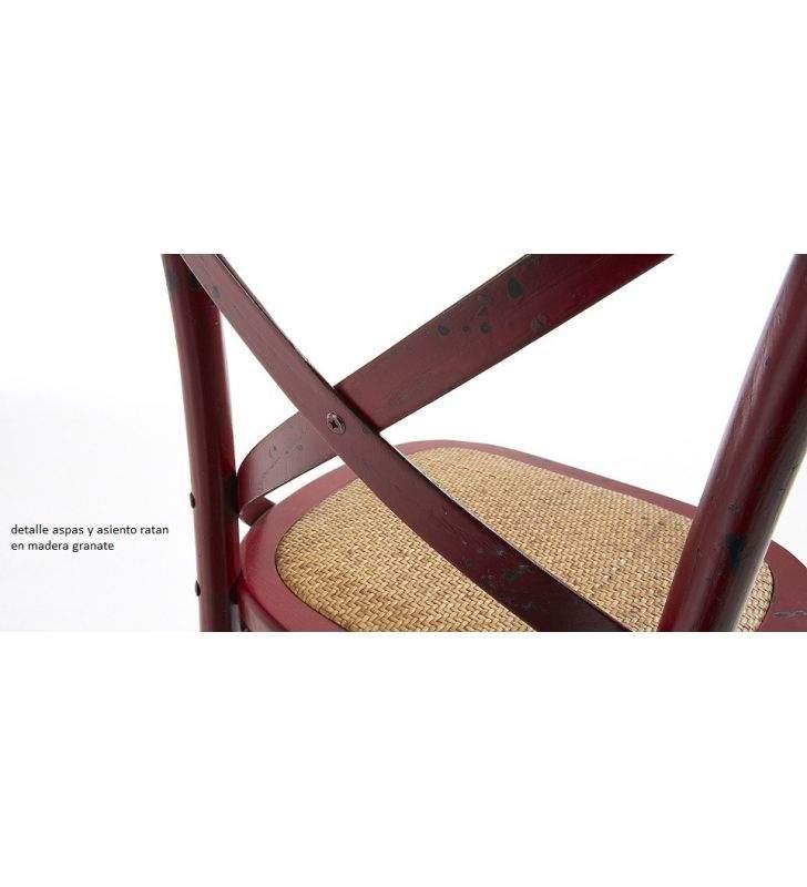 Silla clasica Vintage con aspas Silea en madera y blanca