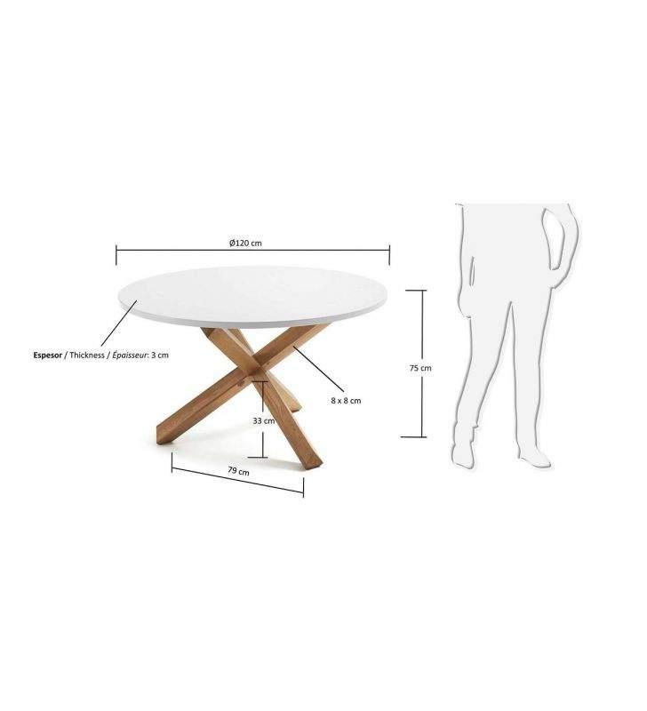 Mesa redonda Nori, patas en roble encimera blanca, estilo nordico
