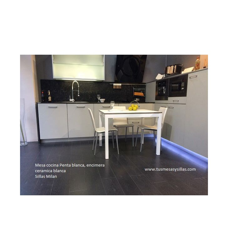 Mesa cocina extensible Penta Mesima estrecha encimera porcelanico