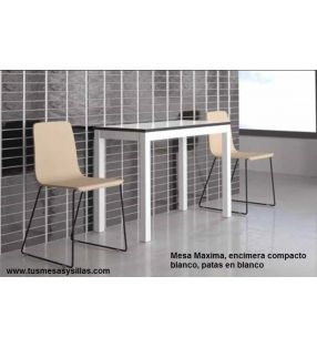 Mesa pequeña extensible Maxima con encimera de Dekton de vimens y fondo de 50 cms