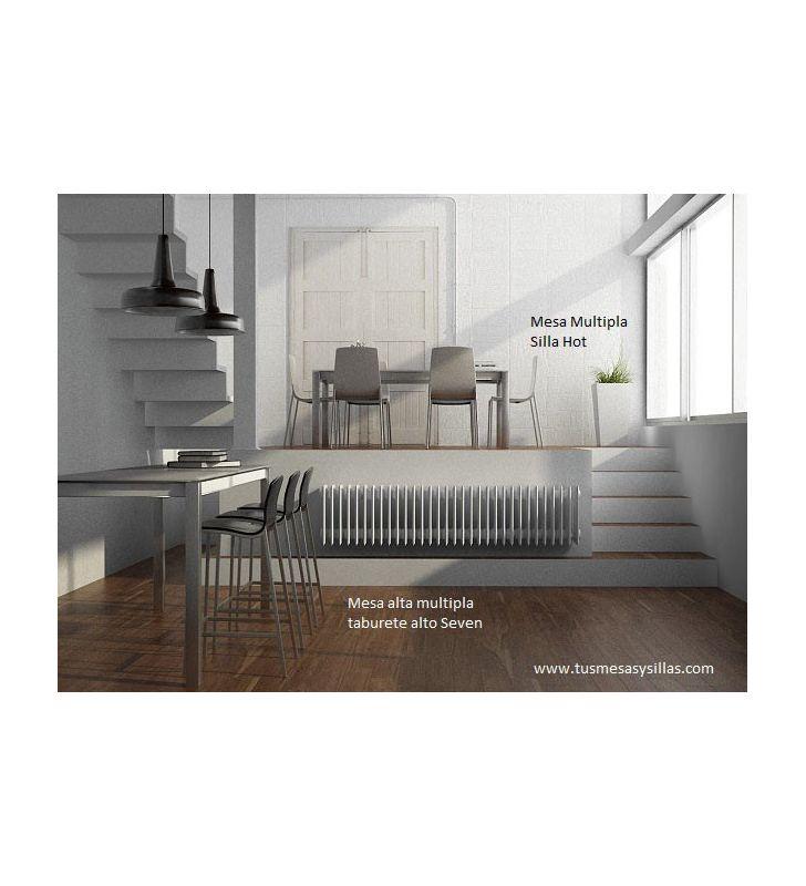 Taburete alto Seven Cancio en blanco, madera o tapizado