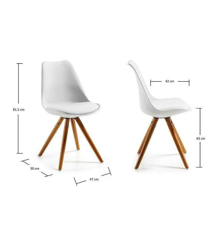 Silla estilo Nordico Lars con patas en tripode de madera