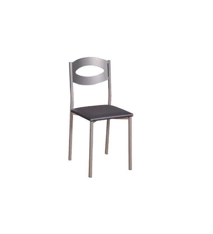 silla de cocina tapizada Gomera en acero y blanca