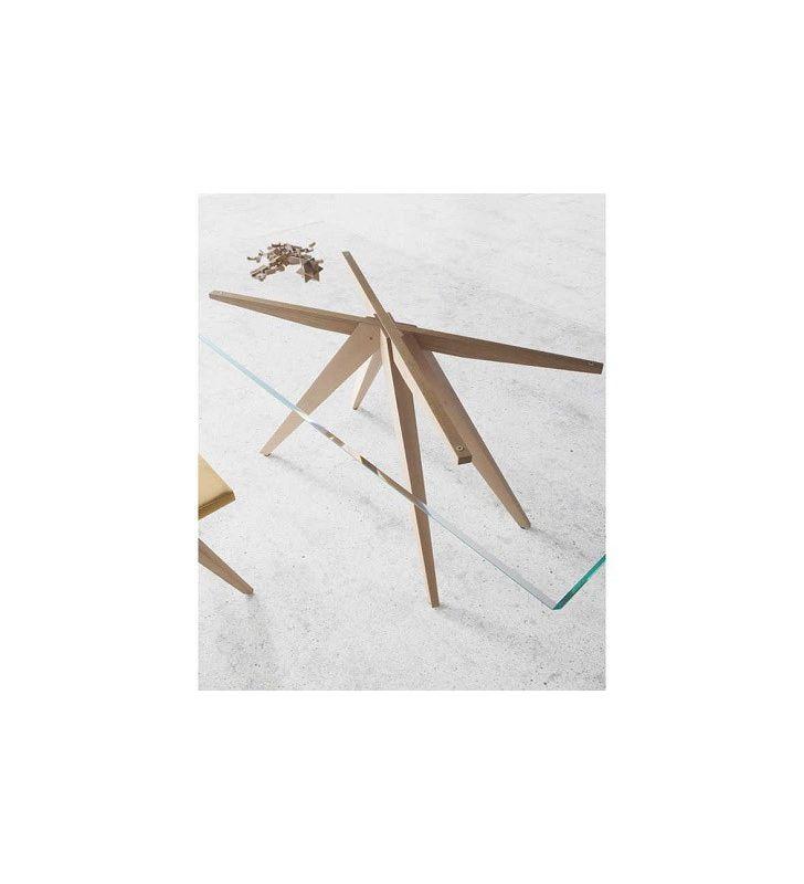 Mesa de comedor cuadrada August encimera de cristal Nacher