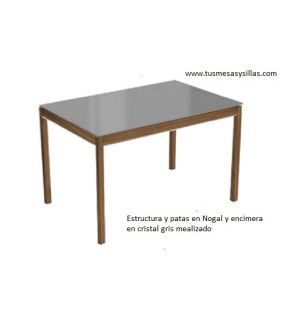mesa cocina extensible multipla a medida encimera cristal y madera