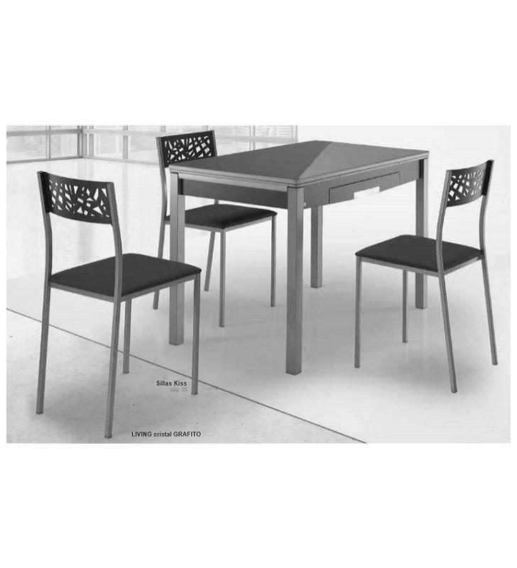 Mesa cocina extensible esquinas redondeadas Living -F