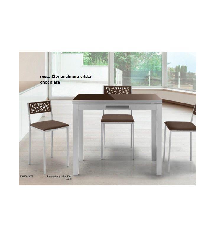 Mesa de cocina pequeña extensible 90x45 City con cajón
