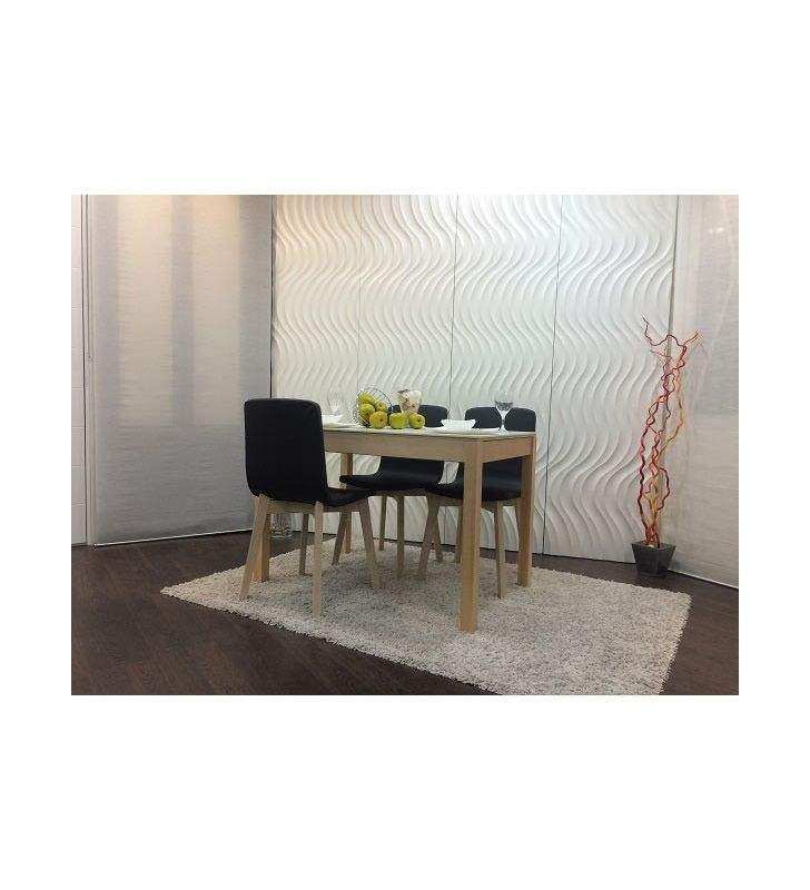 Mesa cocina comedor Mirka encimera cristal patas en madera