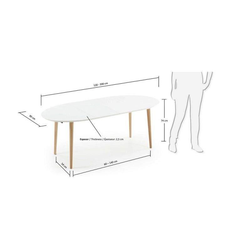 mesa ovalada Oakland extensible de estilo nordico para cocina o comedor