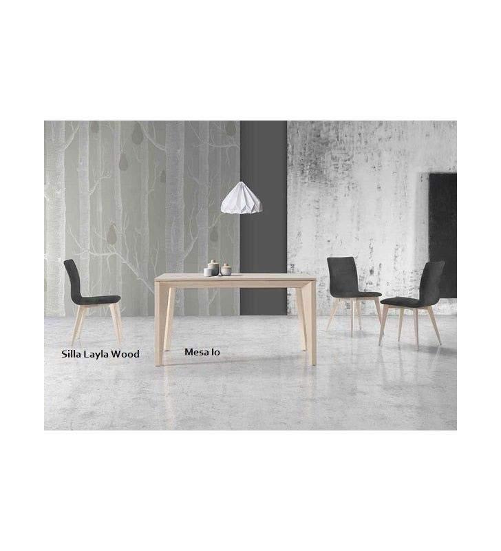 Silla moderna Layla Wood tapizada en madera de haya o roble