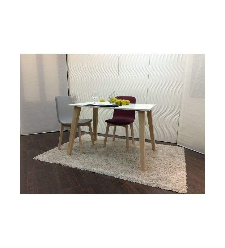Mesa fija Abob encimera cristal y patas en madera de cocina y comedor