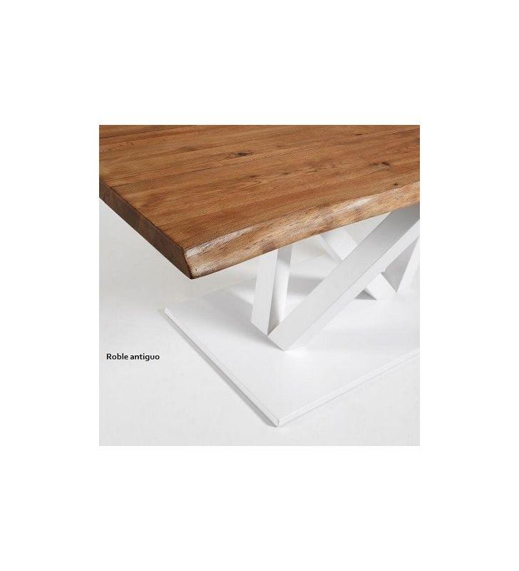 Mesa fija Uve en madera de roble y pie central metálico