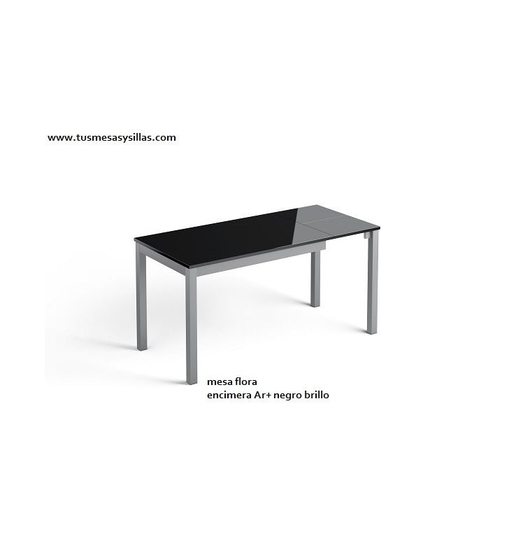 Mesa de cocina extensible Flora encimera cristal