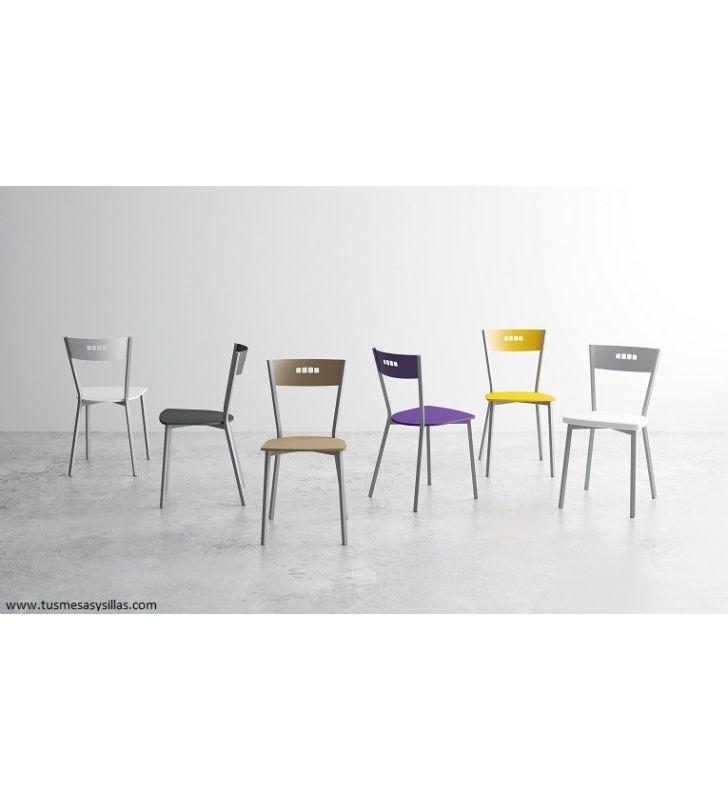 Silla Versus de cocina asiento tapizado Cancio