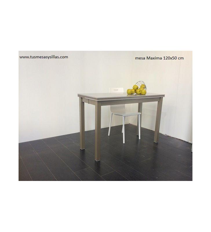 Mesa pequeña extensible Maxima con encimera de Dekton de vimens y fondo de 50 cms