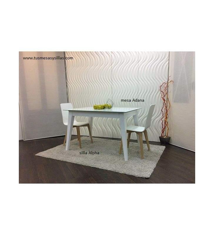 Mesa Adana extensible con encimera de cristal