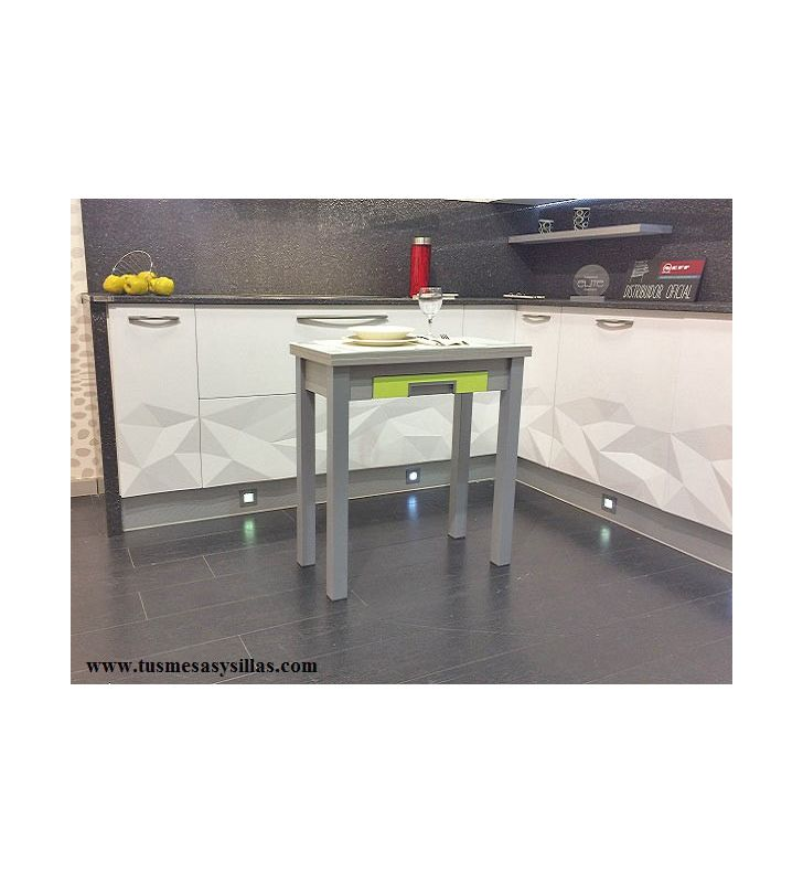 Mesa de cocina pequeña extensible en formato libro Arpa fondo 35,40 y 45