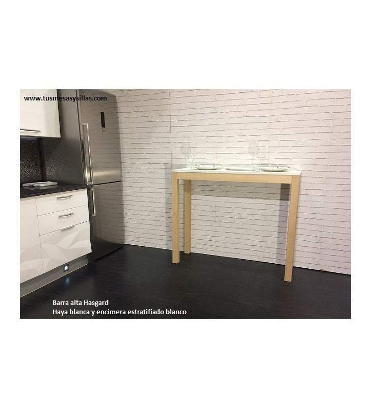 Barra mesa alta Hasgard en madera encimera cristal